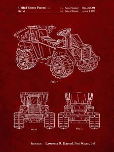 PP951-Burgundy Mattel Kids Dump Truck Patent Poster by Cole Borders