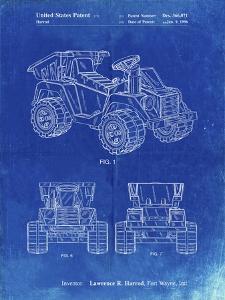 PP951-Faded Blueprint Mattel Kids Dump Truck Patent Poster by Cole Borders