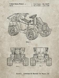 PP951-Sandstone Mattel Kids Dump Truck Patent Poster by Cole Borders