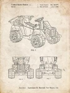 PP951-Vintage Parchment Mattel Kids Dump Truck Patent Poster by Cole Borders