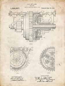 PP953-Vintage Parchment Mechanical Gearing 1912 Patent Poster by Cole Borders