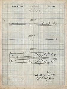 PP955-Antique Grid Parchment Metal Skis 1940 Patent Poster by Cole Borders