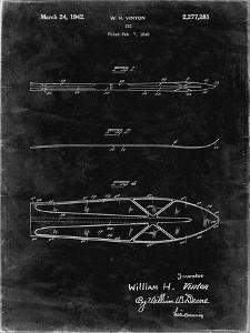 PP955-Black Grunge Metal Skis 1940 Patent Poster by Cole Borders