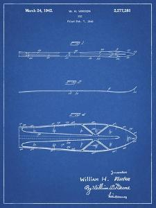 PP955-Blueprint Metal Skis 1940 Patent Poster by Cole Borders