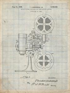 PP966-Antique Grid Parchment Movie Projector 1933 Patent Poster by Cole Borders
