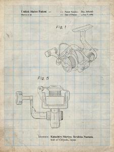 PP973-Antique Grid Parchment Open Face Spinning Fishing Reel Patent Poster by Cole Borders