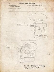 PP982-Vintage Parchment Paintball Gun Patent Art by Cole Borders