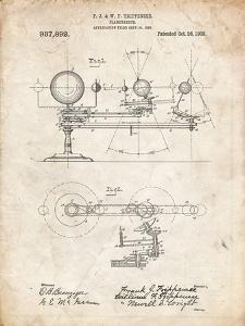 PP988-Vintage Parchment Planetarium 1909 Patent Poster by Cole Borders