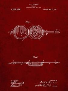 PP992-Burgundy Pocket Transit Compass 1919 Patent Poster by Cole Borders