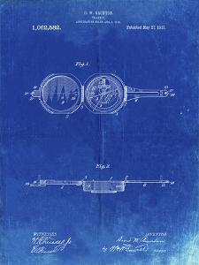 PP992-Faded Blueprint Pocket Transit Compass 1919 Patent Poster by Cole Borders