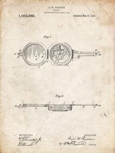 PP992-Vintage Parchment Pocket Transit Compass 1919 Patent Poster by Cole Borders