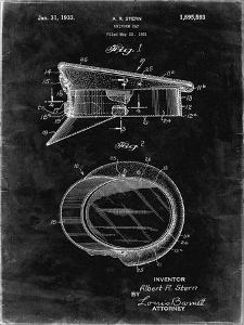 PP993-Black Grunge Police Hat 1933 Patent Poster by Cole Borders