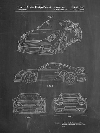 PP994-Chalkboard Porsche 911 with Spoiler Patent Poster