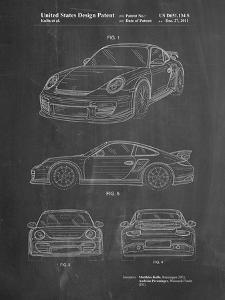 PP994-Chalkboard Porsche 911 with Spoiler Patent Poster by Cole Borders