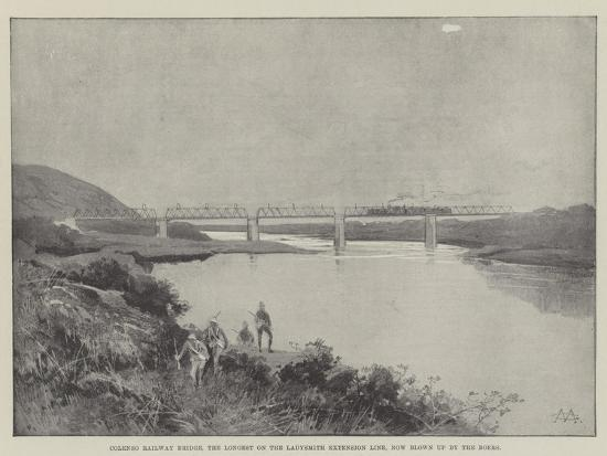 Colenso Railway Bridge, the Longest on the Ladysmith Extension Line, Now Blown Up by the Boers-Charles Auguste Loye-Giclee Print