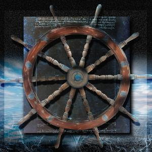 World Map and Ship's Wheel by Colin Anderson