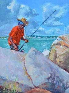 Red Fisherman  2019  (oil on board) by Colin Bootman