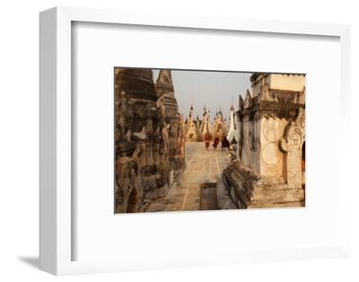 Young Novices Run Through the Pagodas, Kakku Pagoda Complex, Myanmar (Burma), Asia