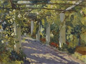 Sun Dappled Garden with Trellis by Colin Campbell Cooper