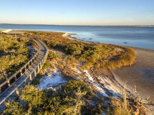 A Boardwalk Curves over the Vegetation on the Dunes in Big Lagoon State Park near Pensacola, Florid by Colin D Young