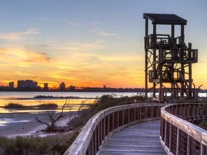 A Wildlife Observation Tower Silhouetted against a Perdido Key Sunset in Big Lagoon State Park Near by Colin D Young