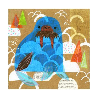 Collage of a Walrus with Trees in Background--Art Print