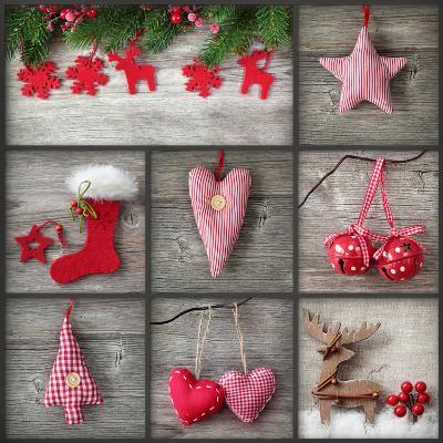 Collage of Christmas Photos over Grey Wood Background-egal-Photographic Print