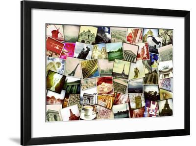 Collage of Different Snapshots of Different Landmarks and Scenes of Paris with Filter Effect-nito-Framed Photographic Print