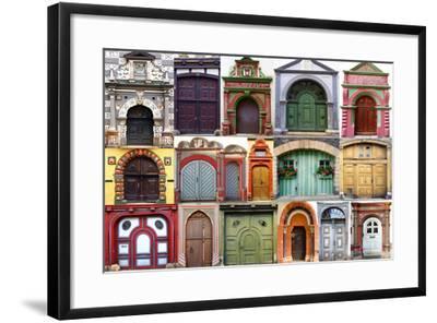 Collage Of The Ancient Unique Doors-plotnikov-Framed Art Print