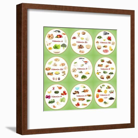 Collage Of Various Food Products Containing Vitamins-Yastremska-Framed Art Print