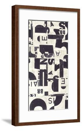 Collaged Letters Purple E-JB Hall-Framed Premium Giclee Print