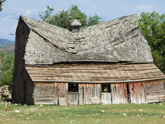 Collapsing Barn-Larry Lee-Photographic Print