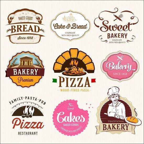 best decorative labels.htm collection of bakery  cakes and pizza badges and labels  art print  collection of bakery  cakes and pizza