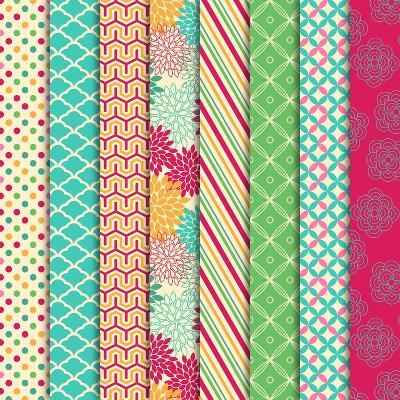 Collection of Bright and Colorful Backgrounds or Digital Papers-Pink Pueblo-Art Print