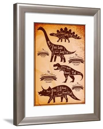 Collection of Dinosaurs with their Cutting Scheme-111chemodan111-Framed Art Print