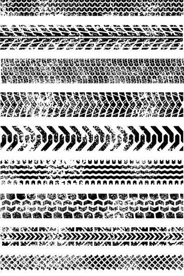 Collection Of Ten High Quality Grunge Tire Tracks-Fourleaflover-Art Print