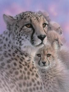 Cheetah Mother and Cubs - Mother's Love by Collin Bogle