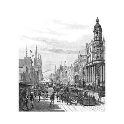 Collins Street Looking East, Melbourne, Victoria, Australia, 1886-JR Ashton-Giclee Print