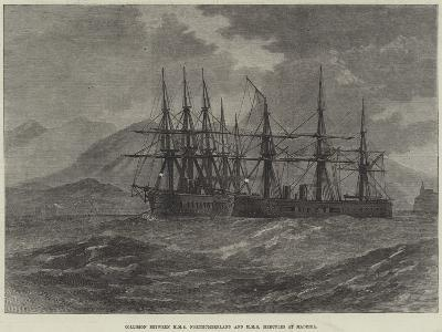 Collision Between HMS Northumberland and HMS Hercules at Madeira--Giclee Print