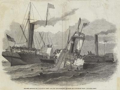Collision Between the Duchess of Kent and the Ravensbourne Steamers, Off Northfleet Point-Edwin Weedon-Giclee Print