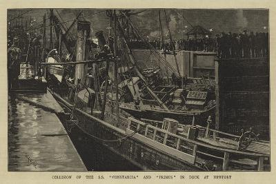 Collision of the Ss Constancia and Primus in Dock at Newport-William Lionel Wyllie-Giclee Print
