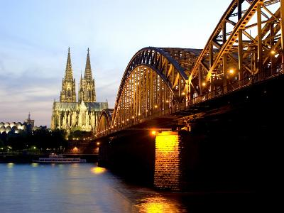 Cologne Cathedral and Hohenzollern Bridge at Night, Cologne, North Rhine Westphalia, Germany-Yadid Levy-Photographic Print