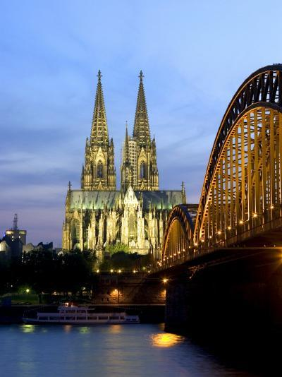 Cologne Cathedral, and Hohenzollern Bridge at Night, North Rhine Westphalia-Yadid Levy-Photographic Print