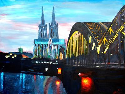 Cologne Cathedral with Hohenzollern Bridge-Markus Bleichner-Art Print
