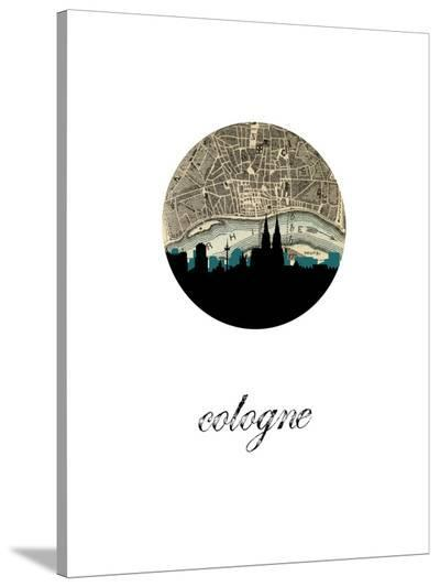 Cologne Map Skylines-Paperfinch 0-Stretched Canvas Print