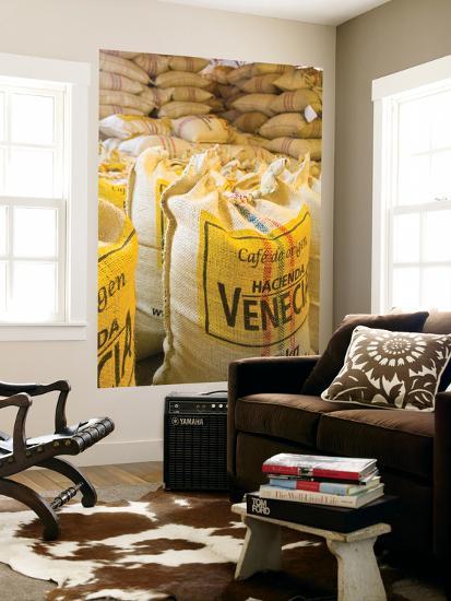 Colombia, Caldas, Manizales, Hacienda Venecia, Coffee in Sisal Bags Ready for Export-Jane Sweeney-Giant Art Print