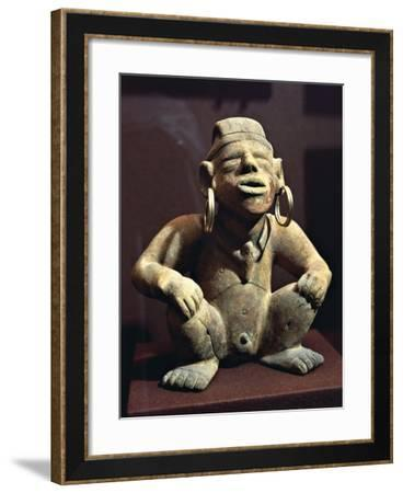Colombia, Pre-Columbian Civilization, Terracotta Male Statuette with Golden Earrings, from Calima--Framed Giclee Print