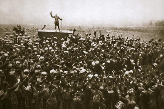 Colonel and men of the 9th East Surrey Regiment cheering the King, France, 12 November, 1918-Unknown-Photographic Print