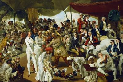 Colonel Mordaunt Watching a Cock Fight at Lucknow, India, 1790-Johan Zoffany-Giclee Print