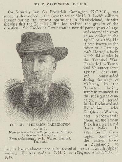 Colonel Sir Frederick Carrington--Giclee Print